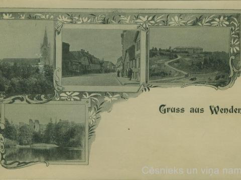 Pastkarte ar 4 attēliem: Cēsu Sv. Jāņa baznīca, Rīgas iela, Bērzaines ģimnāzija, Pils parks 20. gs. sākumā