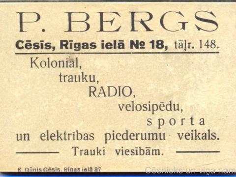 Spogulis, kura otrā pusē redzama P. Berga veikala reklāma; CM 85251
