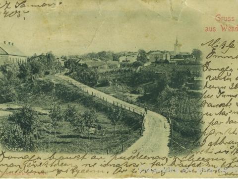 Cēsu panorāma un Bērzaines iela 20. gs. sākumā