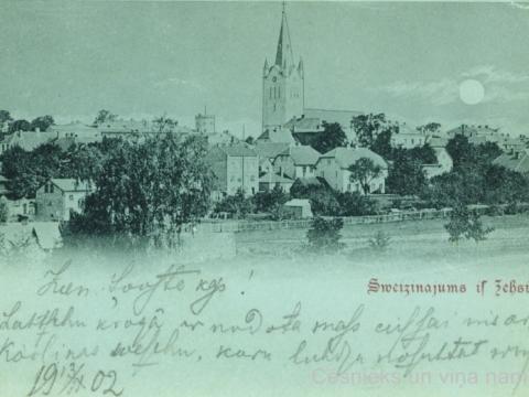 Cēsu panorāma mēnesnīcā 20. gs. sākumā