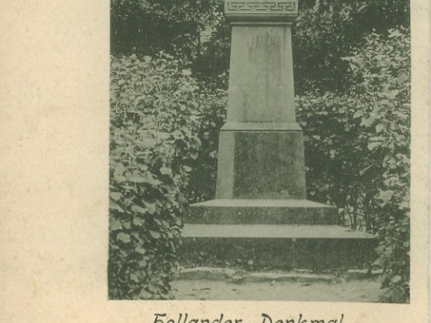 Pastkarte - piemineklis zēnu ģimnāzijas dibinātājam Albertam Holanderam (1796-1868) Bērzainē, ap 1900. - 1913.g.; CM 77581
