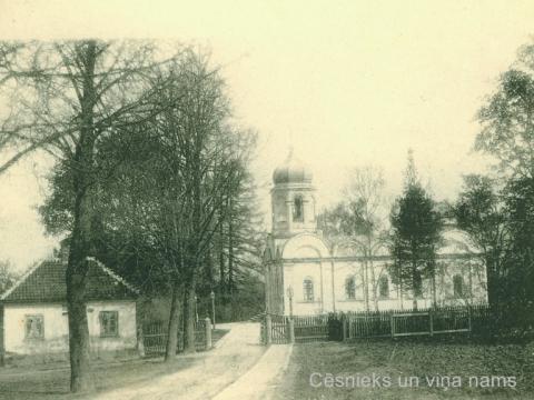 Cēsis, Kristus Apskaidrošanas pareizticīgo baznīca un sarga nams 20. gs. sākumā
