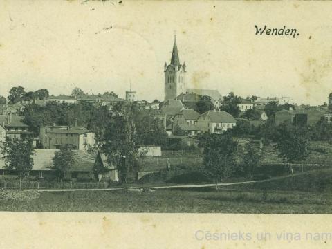 Cēsu panorāma ap 1902. - 1908. gadu