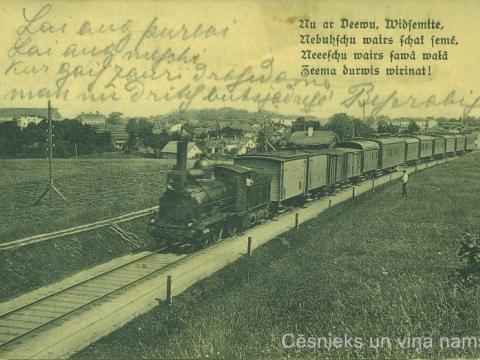 Vilciens ceļā no Cēsīm uz Rīgu, 20. gs. sākums.Pastkarte adresēta H. Missiņ jkdzei, bet nav nosūtīta pa pastu