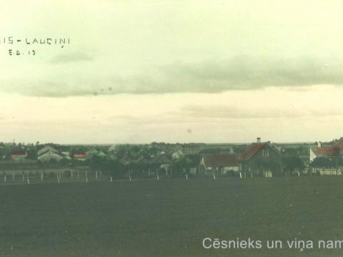 """Cēsu pilsētas rajons - """"Lauciņi"""".Pastkartei otrā pusē spiedoga nospiedums ar uzrakstu: """"E. Dubava mākslas tirgotava"""". 20. gs. 20. gadi"""
