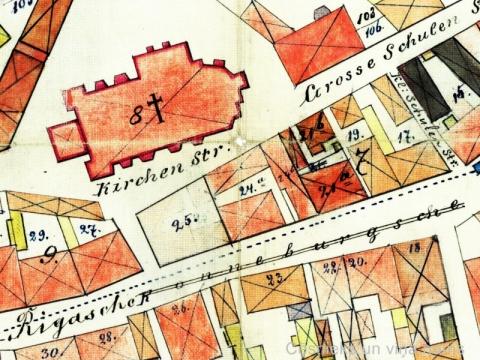 Cēsu plāns 1879/1895. gads, fragments ar gruntsgabaliem 21b un 24b ar vēlākajām adresēm L. Skolas ielā 5 un Rīgas ielā 14 - 6828. fonds, 2.apraksts, 795. lieta