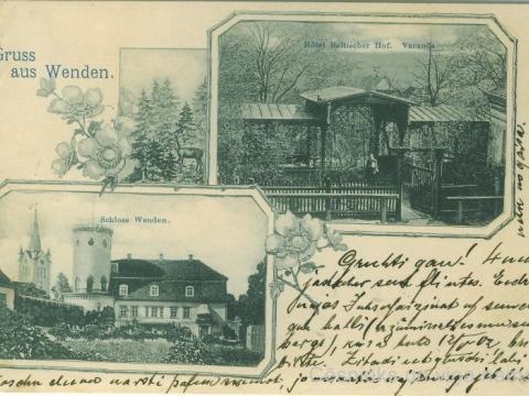 """Pastkartes augšējā attēlā redzama """"Baltijas viesnīcas"""" veranda skatā no iekšpagalma uz Vaļņu ielas pusi. Cēsu Jauno pili un verandu fotografējis un pastkarti izdevis Ludvigs Borevics Cēsīs. Pastkarte nosūtīta 1902. gada aprīlī."""