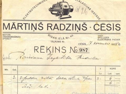 M. Radziņa veikala rēķins Raiskuma Izglītības biedrībai par nopirkatajām spuldzēm 1928.g. 17. novembrī; CM 30793