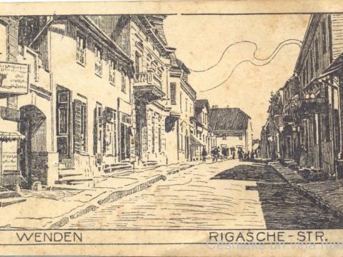 Cēsis, Rīgas iela ap 1918. gadu, nezināma autora zīmējums