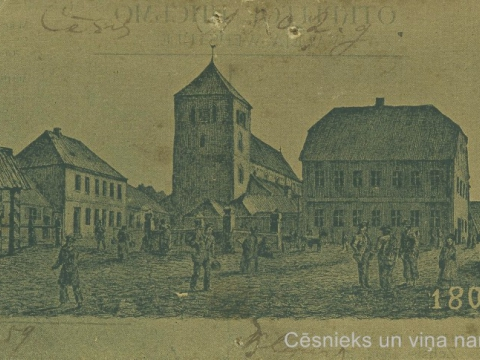 Cēsis, Tirgus laukums 1802. gadā. Nezināma autora zīmējums.