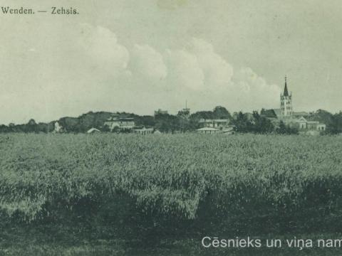 Cēsu panorāma ap 1905. - 1909. gadu; CM 30062