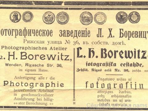 """Reklāma avīzē """"Cēsu Ziņas"""" 1911.g. 10. martā, nr. 8"""