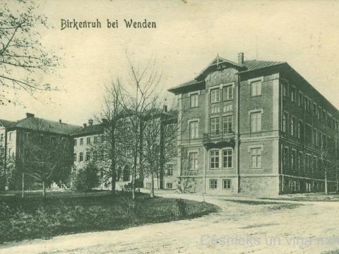 Bērzaines ģimnāzijas ēka, pastkarte nosūtīta 1911. gada oktobrī
