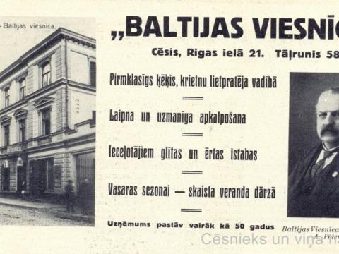 """A. Pētersona """"Baltijas Viesnīcas"""" reklāma iespiesta grāmatā """"Latvijas darbinieku galerija 1918-1928"""" (Rīgā: """"Grāmatu Draugs"""", 1929.g.), jo A. Pētersons finansiāli atbalstīja grāmatas izdošanu."""