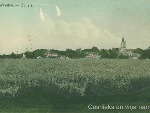Cēsu panorāma ap 1905. - 1909. gadu