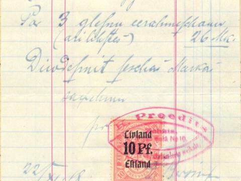 K. Priedīša uzņēmuma rēķins Raiskuma izglītības biedrībai par 3 gleznu ierāmēšanu summā 26 vācu markas, izdots 1918.g. 22. novembrī, t.i., 3 dienas pēc Latvijas valsts neatkarības pasludināšanas
