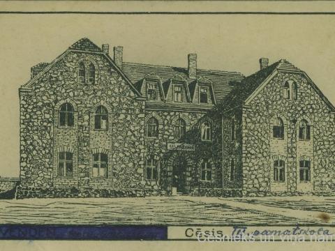"""Ēka Raunas ielā 2, saukta """"Akmens ligzda"""", nezināma autora zīmējums, 1918. gads"""