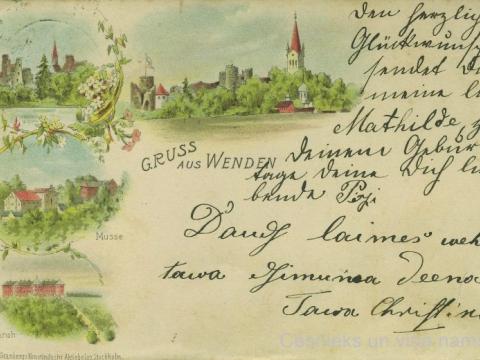 """Pastkarte """"Sveiciens no Cēsīm"""", nosūtīta 1900. gada 21. martā"""